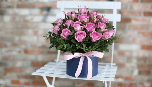 【韓国 花お届け代行】フラワーボックス・ピンク ~豊かなピンクのバラ~