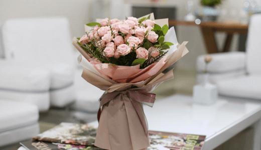 【韓国 花お届け代行】花束・ピンク ~豊かなピンクのバラの花束~