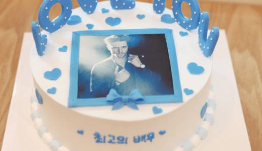 【韓国ケーキサポート代行】フォトケーキブルー