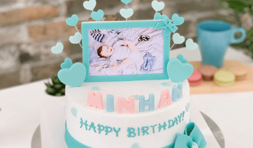 【韓国ケーキサポート代行】アクアブルーフォトケーキ